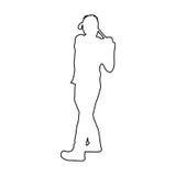 Het silhouetpictogram van de golfspeler stock illustratie