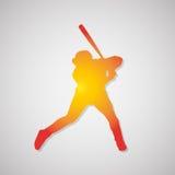 Het silhouetpictogram van de honkbalspeler met schaduw in sinaasappel Vector illustratie Royalty-vrije Stock Afbeeldingen