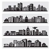 Het silhouetpictogram van steden Stock Foto's