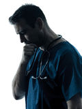 Het silhouetportret van de artsenmens het denken Stock Afbeelding