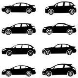 Het silhouetreeks van auto's Royalty-vrije Stock Foto's