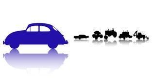 Het silhouetreeks van auto's en van Vrachtwagens Stock Foto
