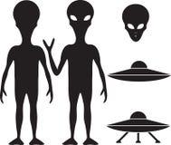 Vreemdeling en UFO Stock Afbeeldingen