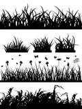 Het silhouetreeks van het gras Stock Afbeelding
