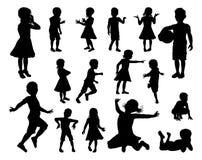 Het Silhouetreeks van kinderenjonge geitjes Royalty-vrije Stock Foto