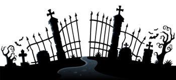 Het silhouetthema 2 van de begraafplaatspoort vector illustratie