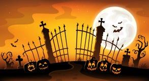Het silhouetthema 5 van de begraafplaatspoort stock illustratie