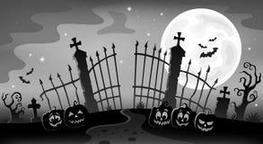 Het silhouetthema 9 van de begraafplaatspoort vector illustratie