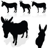 Het silhouetvector van de ezels zwarte kunst Royalty-vrije Stock Fotografie