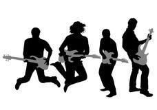 Het silhouetvector van de gitarist Stock Afbeeldingen