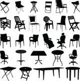 Het silhouetvector van de stoel en van de lijst