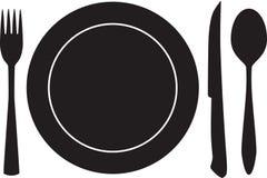 Het silhouetvector van het bordvol, van de vork, van de lepel en van het mes stock afbeelding