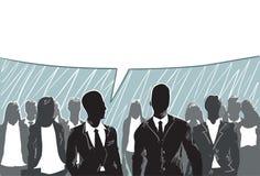 Het silhouetzakenlui groepeert de Bedrijfsmens en Vrouw Team Chat Stock Fotografie