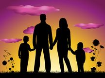 Het silhouetzonsondergang van de familie stock illustratie