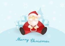 Het situeren van Kerstman met stelt en Kerstboom voor Royalty-vrije Stock Afbeeldingen
