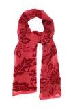 Het sjaal rode die fluweel met een beeld, op een witte achtergrond wordt geïsoleerd Royalty-vrije Stock Afbeelding