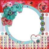 Het sjofele BloemenFrame van de Foto/Achtergrond Scrapbooking Stock Foto