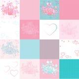 Het sjofele elegante violette patroon van de valentijnskaart Stock Foto