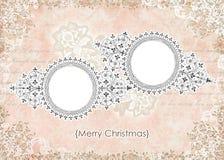 Het sjofele Uitstekende Roze BloemenFrame van de Kerstkaart Royalty-vrije Stock Afbeelding