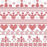 Het Skandinavische Noordse patroon van de Kerstmis naadloze dwarssteek met engelen, Kerstmisbomen, konijnen, sneeuwvlokken, kaars royalty-vrije illustratie