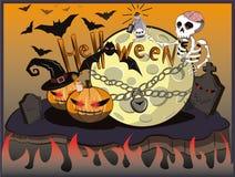 Het skelet en de maan van Halloween Knuppels boven de begraafplaats stock illustratie