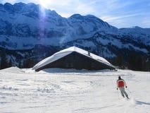 Het skiån in Alpen Stock Afbeelding