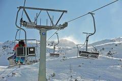 Het skiån in de Alpen Stock Foto