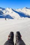 Het skiån in de Alpen Royalty-vrije Stock Foto's