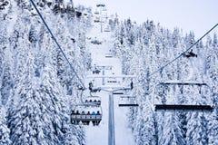 Het skiån lift Noorwegen stock foto's