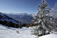 Het skiån in Nendaz Zwitserland Stock Foto's