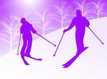 Het skiån van het paar Royalty-vrije Stock Afbeeldingen