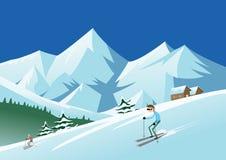 Het ski?en bij skitoevlucht royalty-vrije stock afbeeldingen