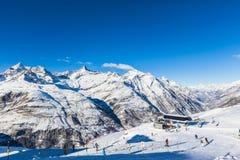Het ski?en gebied in Zermatt Stock Foto's