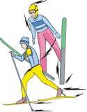 Het ski?en. Gecombineerd noords stock illustratie