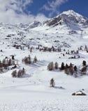 Het ski?en helling Diavolezza stock foto's