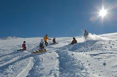 Het ski?en hellingen in zonneschijn Stock Foto's