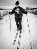 Het ski?en met Hond Stock Afbeeldingen