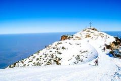 Het ski?en op berg in Oostenrijk Stock Afbeelding