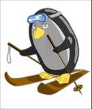 Het ski?en pinguïn Stock Foto
