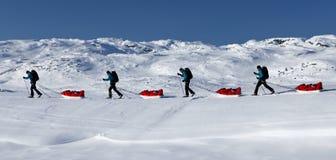 Het ski?en reis op Kungsleden Royalty-vrije Stock Foto's