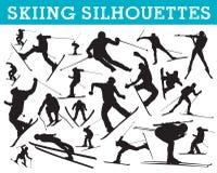 Het ski?en silhouetten Royalty-vrije Stock Foto