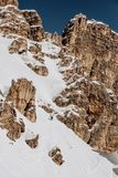 Het ski?en Tofana in Cortina D ` Ampezzo in de Winter Stock Foto