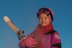 Het ski?en, wintersporten - portret van jonge skiër stock foto