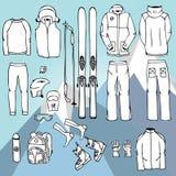 Het skimateriaal in vector, de infographic reeks van de skiuitrusting, ski?t vectordoo royalty-vrije illustratie