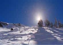 Het skiån in het poeder Royalty-vrije Stock Foto's