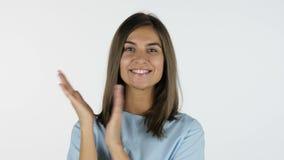 Het slaan, applaus door Mooi Meisje, Witte Achtergrond in Studio stock footage