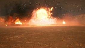 Het slagveld in de rook in het midden van explosies op een niet in kaart gebrachte planeet Van een lus voorzien realistische anim vector illustratie