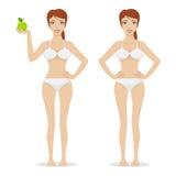 Het slanke meisje houdt appel vector illustratie