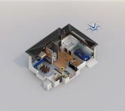 Het slimme beeld van het de technologieconcept van de huisautomatisering met exemplaarruimte Stock Foto