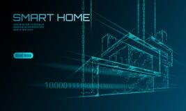 Het slimme lage polyconcept van de huis binaire code De online analyse van de controleinformatie Internet van het huis van de din stock illustratie